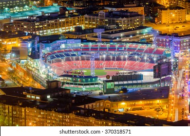 BOSTON, MASSACHUSETTS - APRIL 3, 2012: Fenway Park at night. Opened in 1912, the home of the Red Sox is the oldest MLB stadium still in use.