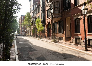 BOSTON, MASSACHUSETTS - AUGUST 17, 2018: The Beacon Hill neighborhood in Boston, one of the most expensive and historic neighborhoods in the city.