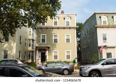 BOSTON, MASSACHUSETTS - AUGUST 4, 2018: Real estate for rent and sale in South Boston. The Dorchester region of South Boston is growing rapidly and experiencing a real estate market boom.