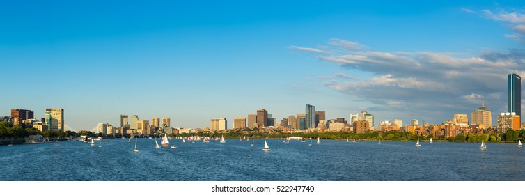 Boston Massachusetts Back Bay District with dark clouds behind