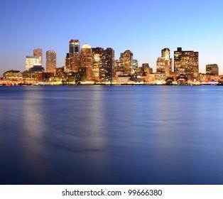 Boston, Massachusetts Financial District Skyline.