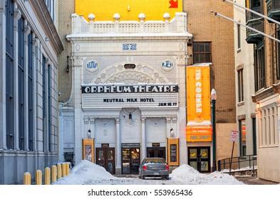 BOSTON, MASSACHUSETTS - JANUARY 04, 2014: Orpheum TheateR. The Orpheum Theatre is a music venue located at 1 Hamilton Place in Boston, Massachusetts.