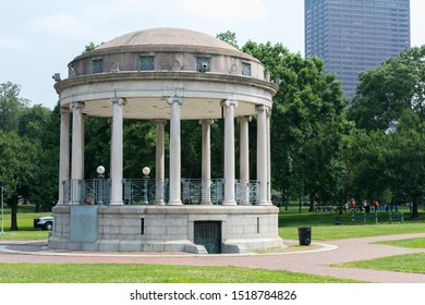 Boston, Massachusetts - July 11, 2019 : Parkman Bandstand located in the eastern section of a fifty acres park, known as the Boston Commons.