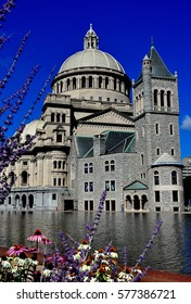 Boston, Massachusetts - July 13, 2013:  The Christian Science Mother Church and reflecting pool  *