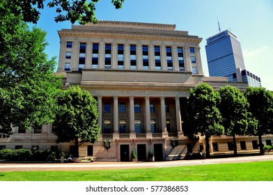 Boston, Massachusetts - July 14, 2013:  Headquarters building of the Christian Science Mother Church on Massachusetts Avenue with the Prudential Tower at right