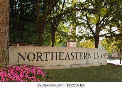 Boston, Massachusetts - July 31, 2018: The entrance of Northeastern University at early morning. Northeastern University is a private research university in Boston, Massachusetts, established in 1898.