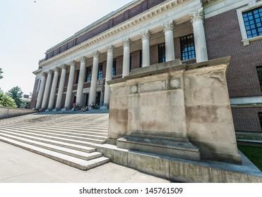 Boston, Massachusetts - July 5, 2013: Widener Library, July 12, 2013. Library of Harvard University. It has 15.6 million volume of books, making it the largest university library in the world.