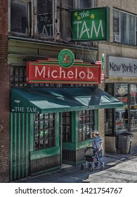 BOSTON, MASSACHUSETTS - July 9, 2017: An Irish pub is characterised by a unique culture centred around a casual and friendly atmosphere, hearty food and drink, Irish sports and music.