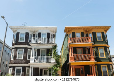 BOSTON, MASSACHUSETTS - JUNE 12, 2018: Multifamily condominiums in the Savin Hill neighborhood of Boston where the real estate market is growing rapidly.