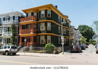 BOSTON, MASSACHUSETTS - JUNE 12, 2018: Real estate background photo from Dorchester showing multifamily homes and housing.
