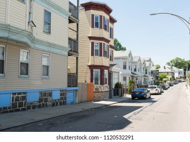 BOSTON, MASSACHUSETTS - JUNE 14, 2018: Housing and multi-unit properties in South Boston neighborhoods Dorchester.