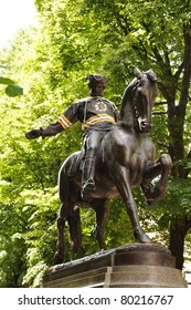 BOSTON, MASSACHUSETTS - JUNE 4: The Paul Revere statue in Boston's North End sports a Boston Bruins jersey to support the hockey team during their quest for the 2011 Stanley Cup on June 4, 2011 in Boston, MA.