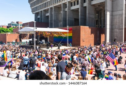 BOSTON, MASSACHUSETTS - JUNE 8, 2019: People watching the dancing and stage at the LGBTQ+ Pride Parade in Boston, Summer 2019