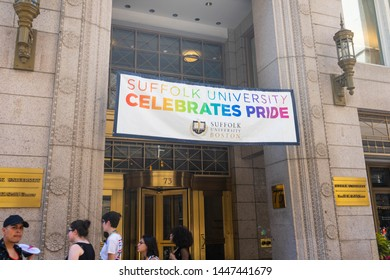 BOSTON, MASSACHUSETTS - JUNE 8, 2019: Suffolk University Celebrates Pride for LGBTQ+ people during the Boston Pride Parade in 2019