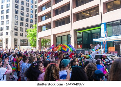 BOSTON, MASSACHUSETTS - JUNE 8, 2019: Crowds of people watching the Boston Pride Parade 2019 in the city