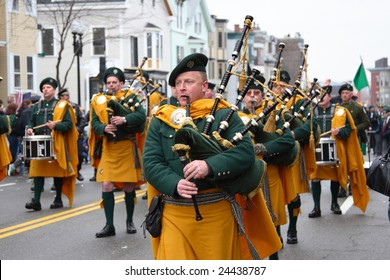 BOSTON, MASSACHUSETTS - MARCH 16: Irishmen in his kilt playing his bagpipe during the St. Patrick's Day Parade held March 16, 2008. The event was held in Boston, Massachusetts.