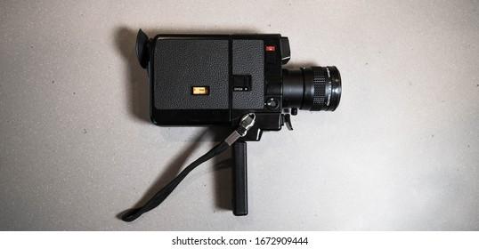 BOSTON, MASSACHUSETTS - MARCH 3, 2020: Canon 514 XL Super 8 Film Camera for recording 8mm film footage.