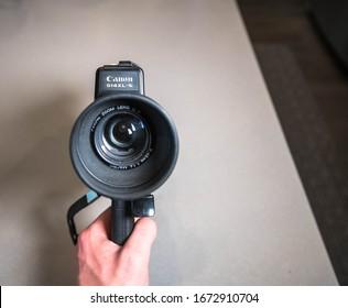 BOSTON, MASSACHUSETTS - MARCH 3, 2020: Canon 514 XL-S Super 8 Film Camera for recording 8mm film footage.