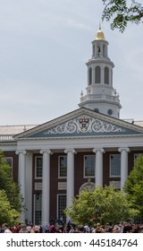 Boston - Massachusetts: May 26, 2016. The facade of the Baker Library from the Baker Lawn at Harvard Business School, just before the Diploma Ceremony, on may 26, 2016.