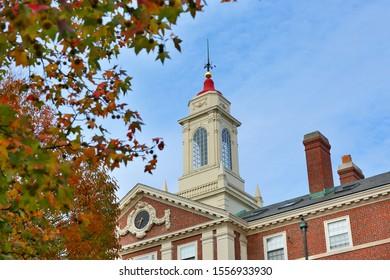 Boston Massachusetts - November 1, 2019: The Radcliffe Quadrangle on campus of Harvard University at sunrise. Harvard University is a private Ivy League research university in Cambridge, MA.