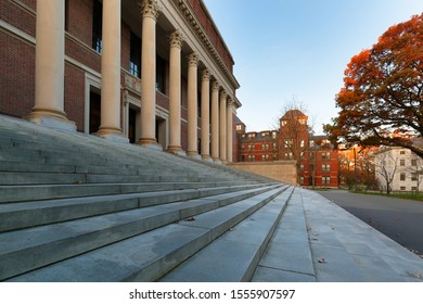 Boston, Massachusetts - November 10, 2019: The Memorial Library on the campus of Harvard University. Harvard University is a private Ivy League research university in Cambridge, Massachusetts