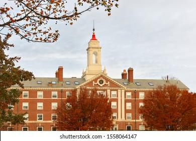 Boston Massachusetts - November 10, 2019: The Radcliffe Quadrangle on campus of Harvard University at sunrise. Harvard University is a private Ivy League research university in Cambridge, MA.