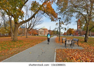 Boston, Massachusetts - November 10, 2019: The  campus of Harvard University at early morning. Harvard University is a private Ivy League research university in Cambridge, Massachusetts
