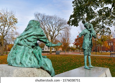 Boston Massachusetts - November 10, 2019: Irish Famine Monument in Cambridge Common at early morning. This monument was depicting the separation of a family due to the great Hunger in 1847.