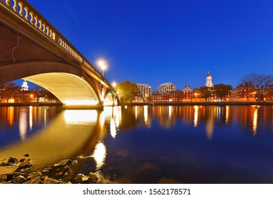 Boston Massachusetts - November 9, 2019: Dunster House and John Weeks Bridge on campus of Harvard University at sunset. Harvard University is a private Ivy League research university in Cambridge, MA.