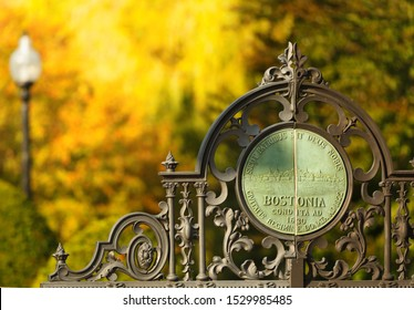 Boston, Massachusetts - October 13, 2019: The closeup of Boston Public Garden Entrance Gate on a sunny Fall day. The Garden Established in 1837, is a large park in the heart of Boston, MA.
