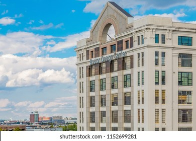 BOSTON, MASSACHUSETTS - September 18, 2014: The Boston Design Center is 350,000 sq. ft. building on the seaport which houses over 1,200 product lines, including an open market and an antique market.