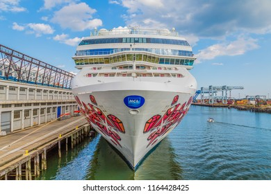 BOSTON, MASSACHUSETTS - September 18, 2014: Norwegian Cruise Lines, which also owns Oceania and Regent Seven Seas, controls about 8% of the world's cruise market.
