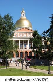 Boston, Massachusetts - September 2008: The Massachusetts State House with its golden dome overlooks Boston Common