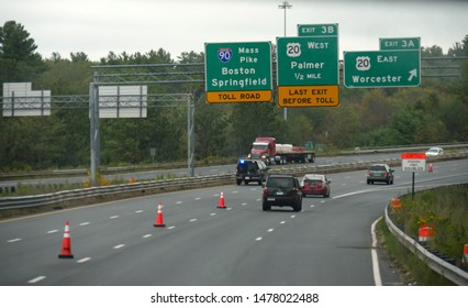Boston, Massachusetts- September 2017: Directional signs on Interstate 90 with directions Palmer, Worcester and Boston Springfield.