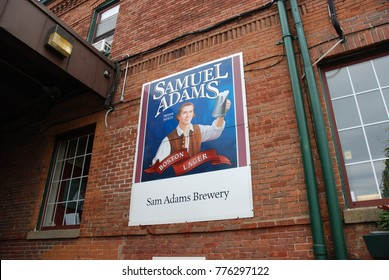 Boston, Massachusetts- September 2017: Sign on the wall of the Samuel Adams brewery