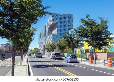 BOSTON, MASSACHUSETTS - SEPTEMBER 23, 2013: street view of Simmons Hall building, MIT