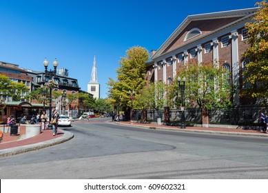 BOSTON, MASSACHUSETTS - SEPTEMBER 23, 2013: street view of Harvard square in Cambridge, MA