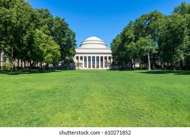 BOSTON, MASSACHUSETTS - SEPTEMBER 23, 2013: main building of Massachusetts Institute of Technology (MIT) in Cambridge, MA, USA