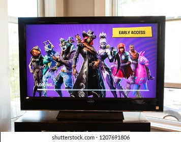 BOSTON, MASSACHUSETTS - SEPTEMBER 29, 2018: Fortnite loading screen showing the characters and skins for season 6 of the popular Battle Royale style video game developed by Epic Games.