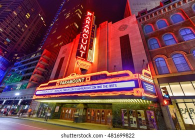 Boston, Massachusetts - September 3, 2016: The Paramount Theater, along Washington Street in Boston, Massachusetts at night. The Paramount is a performing arts facility in Boston.