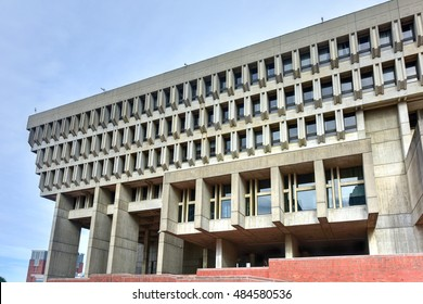 Boston, Massachusetts - September 5, 2016: Boston City Hall in Government Center. The current hall was built in 1968 and is a controversial and prominent example of the brutalist architectural style.
