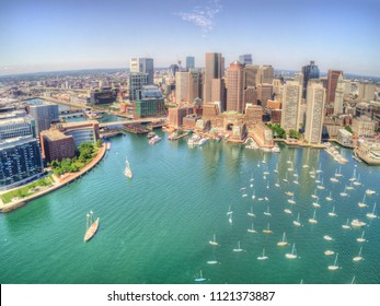 Boston, Massachusetts Skyline from above by Drone during Summer Time