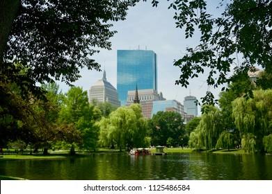 Boston, Massachusetts skyline view from Boston Common.