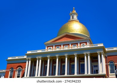 Boston Massachusetts State House golden dome in USA