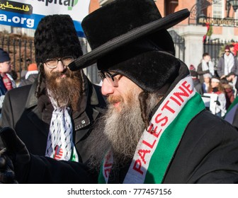 Boston, Massachusetts (United States of America). December 17, 2018. Peace activists and Palestinian supporters protest against President Trump's recognition of Jerusalem as Capital of Israel.