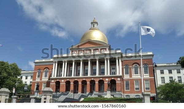Boston, Massachusetts / United States of America - July 7, 2019: Massachusetts State House South Entrance (illustrative editorial)
