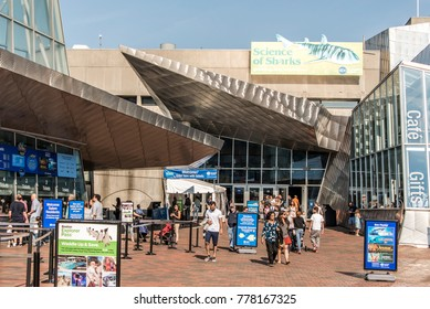 BOSTON MASSACHUSETTS USA 06.09.2017 entrance of the New England Aquarium in Boston