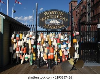 Boston, Massachusetts / USA - 10/2/2018: Boston Waterboat Marina, Long Wharf, Boston Harbor