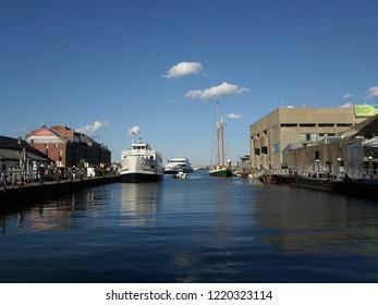 Boston, Massachusetts / USA - 11/3/2018: Long Wharf South and New England Aquarium, Boston Harbor