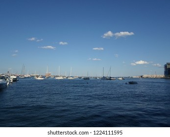Boston, Massachusetts / USA - 11/7/2018: Boston Harbor at the level of India Wharf